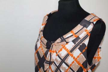 Rochie vintage print geometric portocaliu și bej anii 60