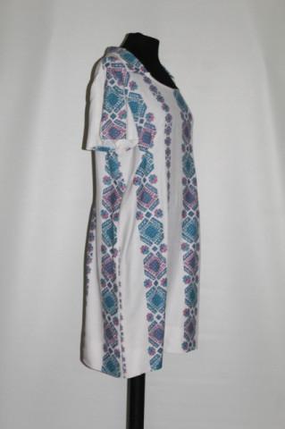Rochie vintage print popular stilizat roz si bleu anii '60
