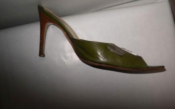 "Sandale din piele kaki ""Gianfranco Ferre"""