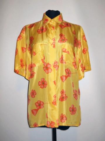 Camasa vintage matase naturala galbena print floral anii '70