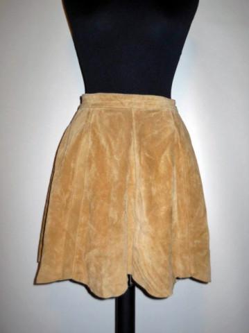 Fusta vintage mini piele intoarsa anii '70