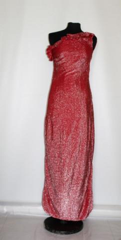Rochie de seara din lurex rosu anii '70