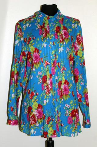 Camasa retro print floral pe fond turcoaz anii '90