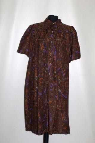 Rochie print abstract maro și violet anii 70