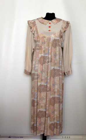 Rochie din pânză topită print pastel anii 80