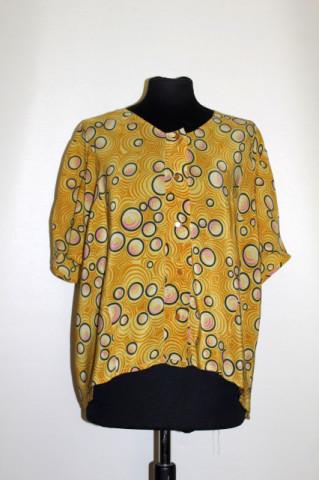 Bluză din mătase naturală print cercuri anii 50-60