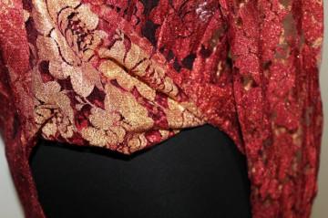 Camasa retro din dantela caramiziu cu bronz anii '90