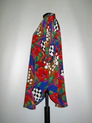 Camasa retro print floral urias, patratele si buline anii '80