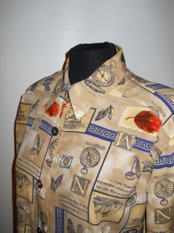 Camasa retro print litere si frunze anii '80