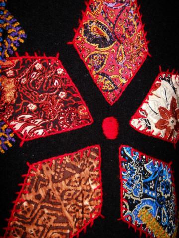 Cardigan vintage cu aplicatii patchwork anii '70