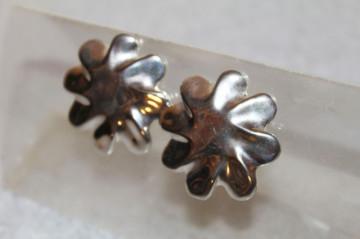 Cercei vintage floare argintie anii '70