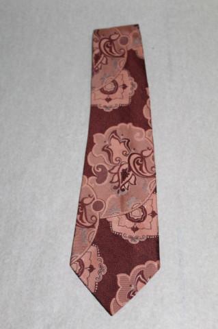 Cravată Trevira print floral roz carne anii 70