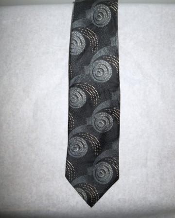 "Cravata vintage print geometric gri ""Stafford"" anii '70"
