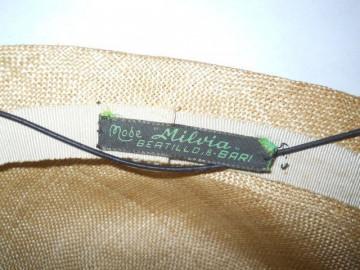 Palarie vintage estiva din buntal anii '50