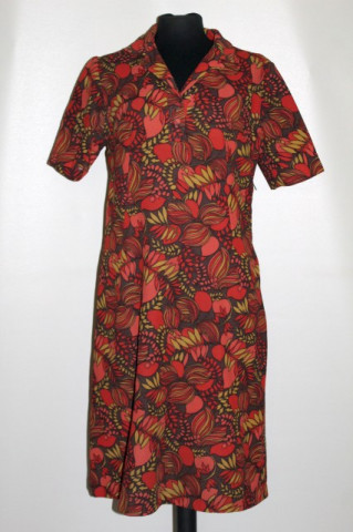 Rochie caramizie vintage print vegetal anii '60