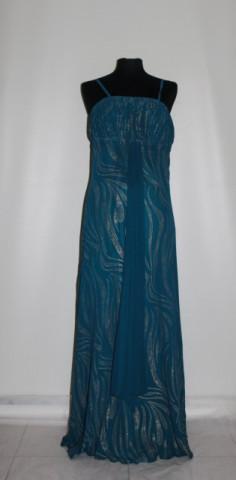 Rochie de seara albastru teal imprimeu auriu anii '90