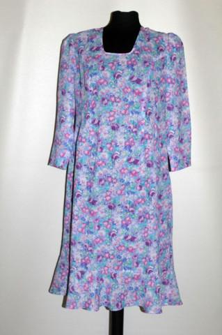 Rochie flori roz pe fond bleu anii 70