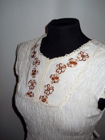 Rochie maxi broderie florala repro anii '70