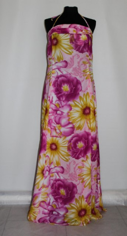 Rochie maxi flori uriase roz si galbene anii '80