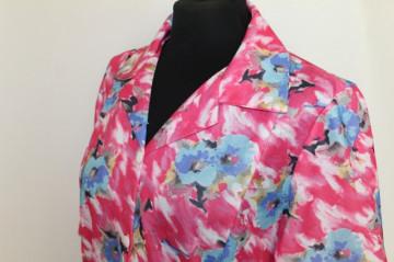 Rochie print floral roz si albastru anii '70