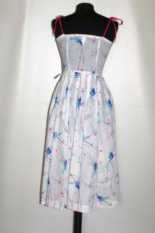 Rochie print floral stilizat albastru anii 70