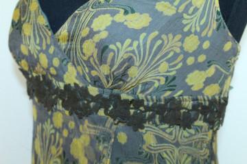 Rochie print vegetal stilizat mustar anii '90