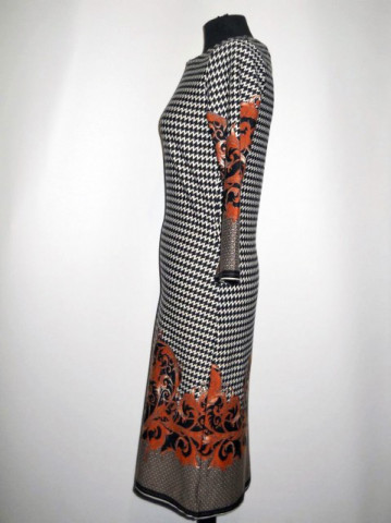 Rochie print zigzagat si arabescuri repro anii '70