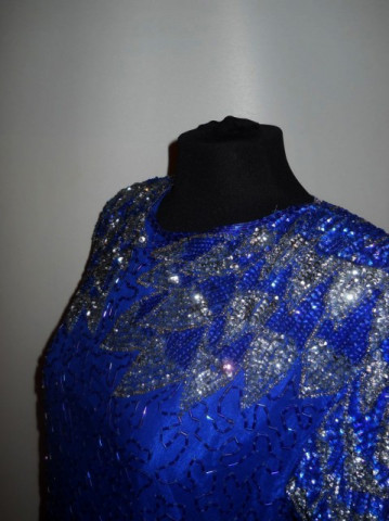 Rochie retro paiete albastru electric anii '80