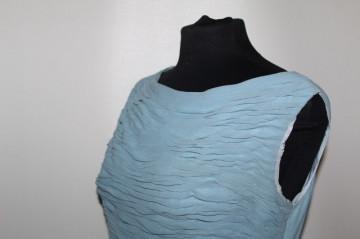 Rochie vintage bleu bust plisat anii 50
