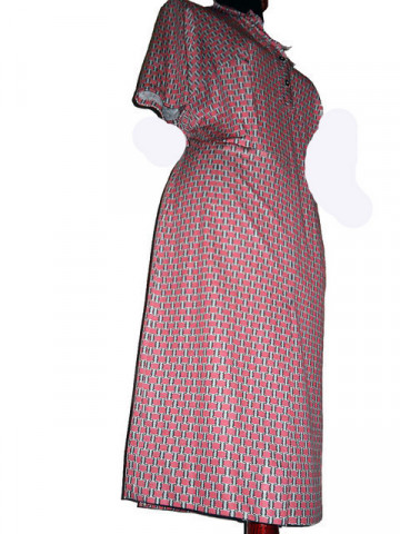 Rochie vintage cu patratele roz anii '70