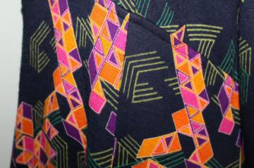 Rochie vintage print geometric violet cu portocaliu anii '70