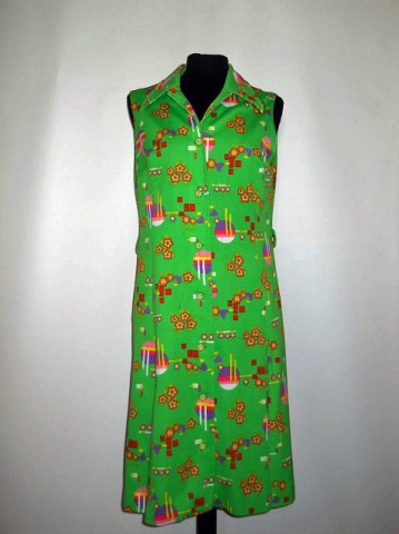 Rochie vintage verde acid print multicolor anii '60