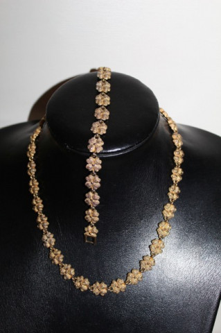 Set colier și brățară aurii anii 70