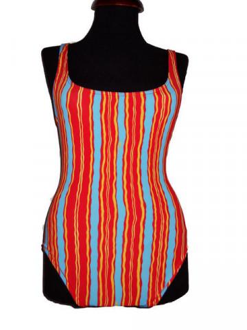 Costum de baie vintage dungi verticale corai anii '70