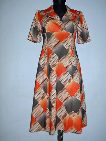 Rochie vintage print grafic portocaliu anii '60
