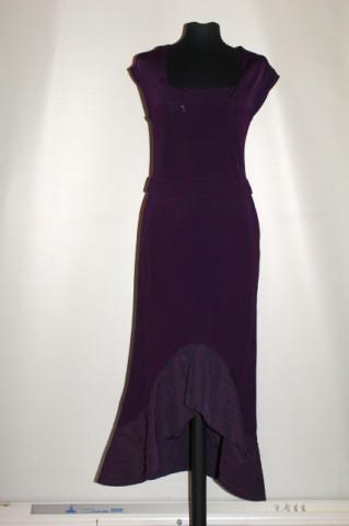Rochie violet volan asimetric anii 90