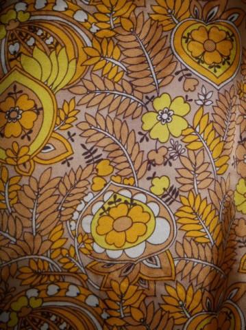 Bluza vintage print vegetal galben si maro cafea cu lapte anii '60