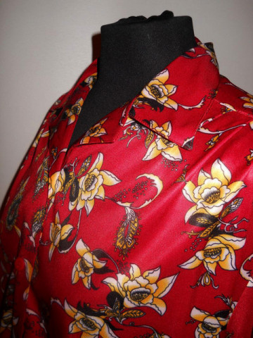Camasa rosie print floral anii '70