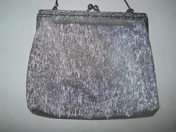 Poseta vintage din lurex argintiu anii '50 - '60