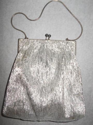 Poseta vintage din lurex argintiu anii '60
