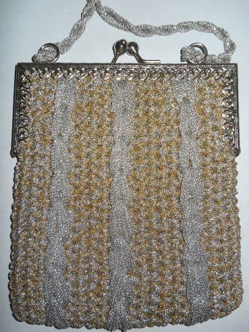 Poseta vintage din lurex bicolor anii '70