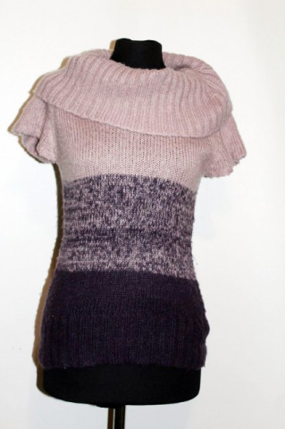 Pulover maneci scurte dungi violet repro anii '70