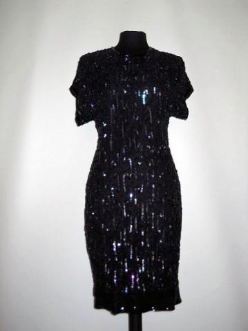 Rochie de ocazie neagra cu paiete si margele anii '80