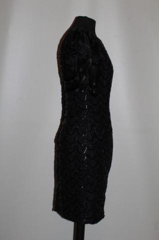 Rochie de ocazie paiete și mărgele negre anii 80