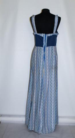 Rochie maxi albastra dungi si print floral anii '80
