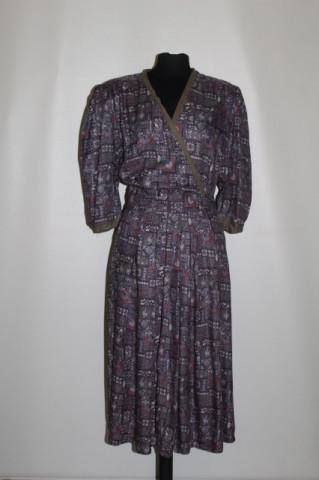 Rochie print abstract pe fond violet anii '70 - '80