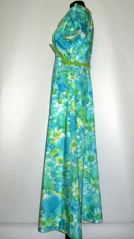 Rochie print floral tonuri de verde anii '60