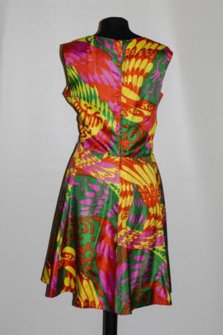 Rochie print psihedelic fucsia cu galben anii '60