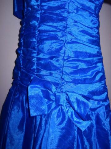 Rochie retro de ocazie din santung albastru anii '80