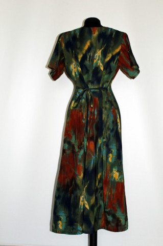 Rochie retro print abstract verde anii '80